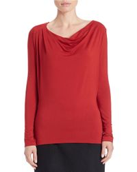 Lord & Taylor - Red Draped Neck Blouse - Lyst