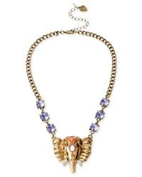 Betsey Johnson | Metallic Brass-Tone Elephant Frontal Necklace | Lyst