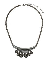 Mikey | Black Oval Stone On Half Moon Necklace | Lyst