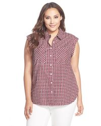 Sejour - Red Print Sleeveless Cotton Shirt - Lyst