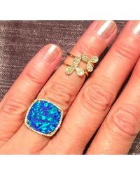 Anne Sisteron - Metallic 14kt Yellow Gold Blue Opal Diamond Cocktail Ring - Lyst