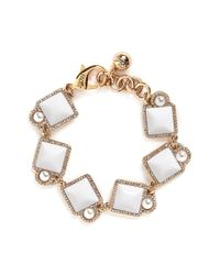 Lulu Frost - White 'mary' Glass Pearl Square Cabochon Bracelet - Lyst