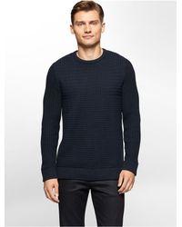 Calvin Klein | Blue White Label Basketweave Cotton Sweater for Men | Lyst