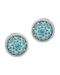 Lord & Taylor | Metallic Sterling Silver And Aqua Cubic Zirconia Stud Earrings | Lyst