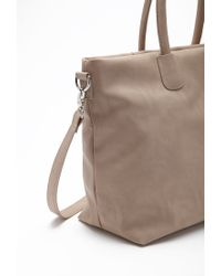 Forever 21 - Brown Unstructured Faux Leather Tote - Lyst