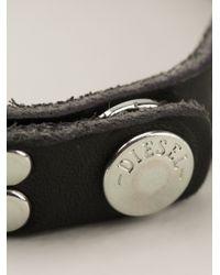 DIESEL - Black Studded Bracelet for Men - Lyst