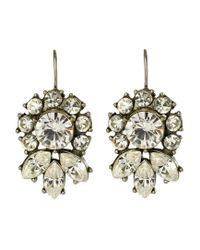 Ben-Amun | Metallic Crystal Flower Drop Earrings | Lyst