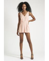 4931121684 Lyst - TOPSHOP Petite Lace Back Playsuit in Pink