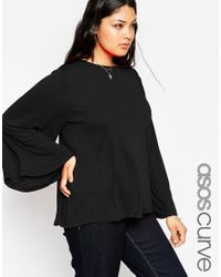 ASOS | Black 70's Split Back Top In Crepe | Lyst