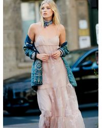 Free People | Pink Womens Black Rose Tulle Maxi | Lyst