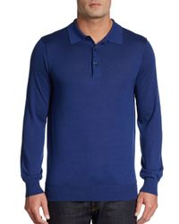 Saks Fifth Avenue - Blue Long-sleeve Merino Wool Pullover for Men - Lyst
