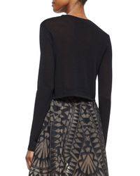 BCBGMAXAZRIA | Black Renea Cross-front Cropped Sweater | Lyst