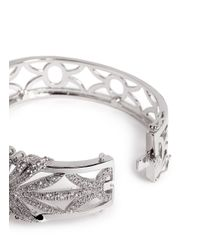 CZ by Kenneth Jay Lane | Metallic Cubic Zirconia Pavé Deco Bangle | Lyst