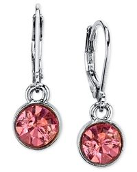 2028 | Pink Round Crystal Drop Earrings | Lyst