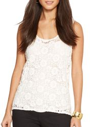 Ralph Lauren - White Lauren Scoop Lace Tank Top - Lyst