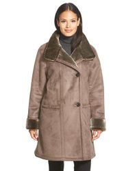 Gallery | Brown Stand Collar Faux Shearling Coat | Lyst