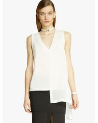 Halston | White Jersey Georgette Combo Top | Lyst