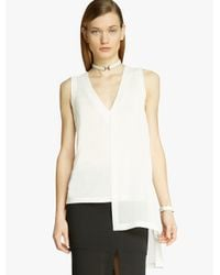 Halston - White Jersey Georgette Combo Top - Lyst