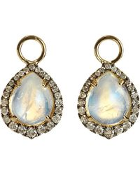 Annoushka - Brown Moonstone, 18ct Yellow-gold And Diamond Earring Drops - Lyst