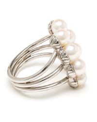 Yvonne Léon - Metallic 18K White Gold Eight Pearl Ring - Lyst