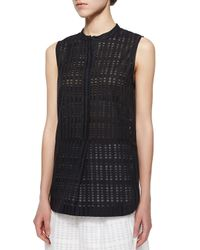 Vince - Black Sheer Textured Woven Tunic - Lyst