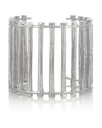 Eddie Borgo | Metallic Grate Rhodiumplated Crystal Cuff | Lyst