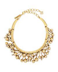 Oscar de la Renta | Metallic Ball & Crystal Necklace | Lyst