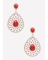 Bebe - Metallic Lacy Drop Earrings - Lyst