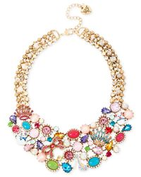 Betsey Johnson | Multicolor Gold-tone Multi-stone And Charm Frontal Necklace | Lyst