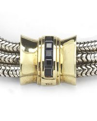 Tiffany & Co. | Metallic Pre-owned Silver and Gold 3 Strand Bracelet with Sapphires | Lyst
