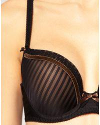 Freya - Black Taylor Stripe Velvet Ribbon Plunge Bra - Lyst