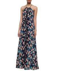 Ella Moss - Blue Floral-print Sleeveless Maxi Dress - Lyst