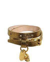 Alexander McQueen | Metallic Skull Charm Glitter Leather Bracelet | Lyst