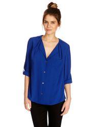 Oasis | Blue Tuck Shoulder Shirt | Lyst