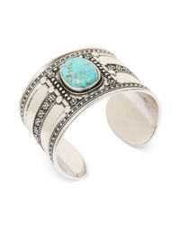 Lucky Brand | Metallic Silvertone Reconstituted Turquoise Stone Cuff Bracelet | Lyst