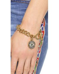 Juicy Couture - Metallic Pave Evil Eye Charm Bracelet Gold - Lyst