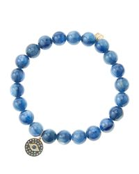 Sydney Evan - Blue 8Mm Kyanite Beaded Bracelet With 14K Gold/Rhodium Diamond Small Evil Eye Charm (Made To Order) - Lyst