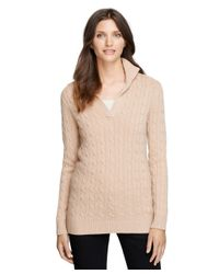 Brooks Brothers - Natural Cashmere Cable Tunic Sweater - Lyst