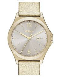DKNY | Metallic 'parsons' Leather Strap Watch | Lyst
