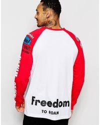 DIESEL - Red Long Sleeve Top Logo Moto Print Raglan for Men - Lyst