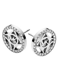 Michael Kors | Metallic Silvertone Logo Studs | Lyst
