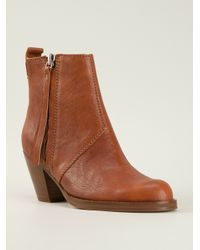 Acne Studios | Brown 'Pistol' Ankle Boots | Lyst