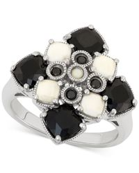 Macy's | Black Onyx (3-3/4 Ct. T.w.) And Agate (4-1/2 Ct. T.w.) Ring In Sterling Silver | Lyst