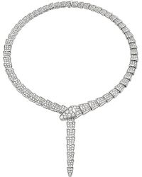 BVLGARI | Metallic Serpenti 18ct White-gold And Pavé-diamond Necklace | Lyst