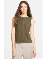 Eileen Fisher | Natural Round Neck Soft Suede Shell | Lyst