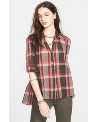 Free People | Gray 'Peppy In Plaid' Button Front Shirt | Lyst