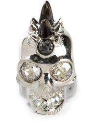 Alexander McQueen - Metallic Mohican Skull Ring - Lyst