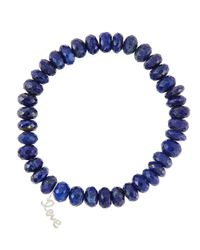 Sydney Evan - Blue 8Mm Faceted Lapis Beaded Bracelet With 14K Gold/Diamond Small Love Charm (Made To Order) - Lyst