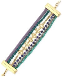 "BCBGeneration | Green Gold-tone Mixed Media ""blessed"" Line Bracelet 
