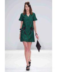 Jamie Wei Huang   Green Silk Jacquard V Neck Dress   Lyst